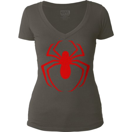 Spider-Man  Red Logo Girls Jr Soft Tee Dark (Spiderman Womens Shirt)