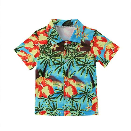 870f14e53 Hirigin - Hawaiian Style Toddler Kids Boys Shirts Summer Coconut tree Print  Shirt Summer Short Sleeve Blouse Tops Casual 0-5Y - Walmart.com