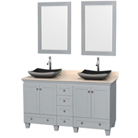 60 in. Double Bathroom Vanity In Oyster Gray, Ivory Marble Countertop, Altair Black Granite Sinks With 24 in. Mirrors