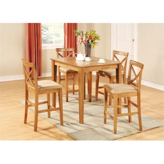 Set Of 2 Kitchen Counter Height Chairs With Microfiber: East West Furniture PUBS3-OAK-C 3PC Pub Set With 39 In