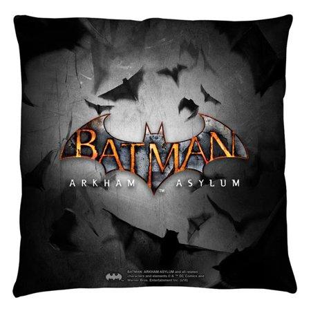 Trevco Bm2662 Plo3 16X16 Batman Arkham Asylum Logo Throw Pillow  White   16 X 16 In