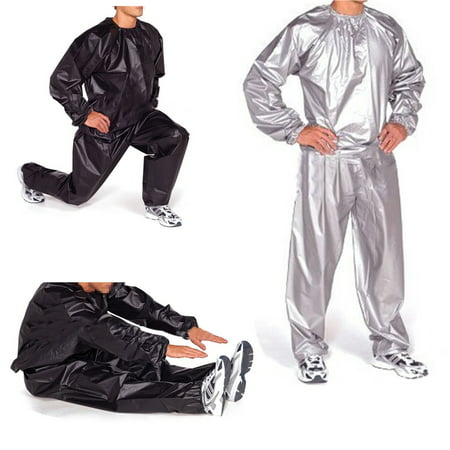 100% PVC Heavy Duty Unisex Fitness Loss Weight Sweat Suit Sauna Yoga Stretch Workout Suit Exercise Gym 5 Sizes ()
