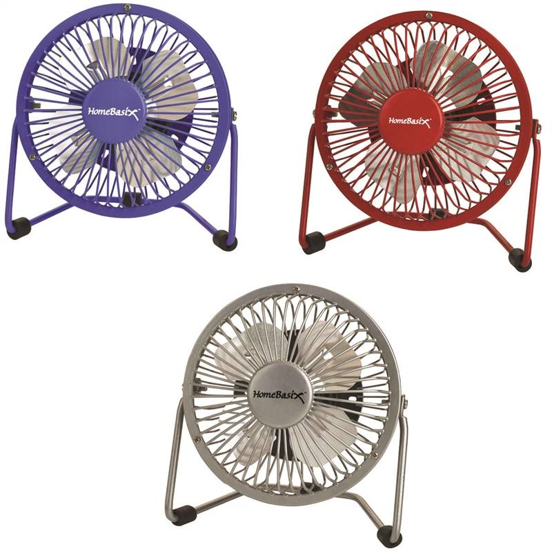HOMEBASIX FE-20 FAN MINI W/USB4IN RED/BLU/SLVR