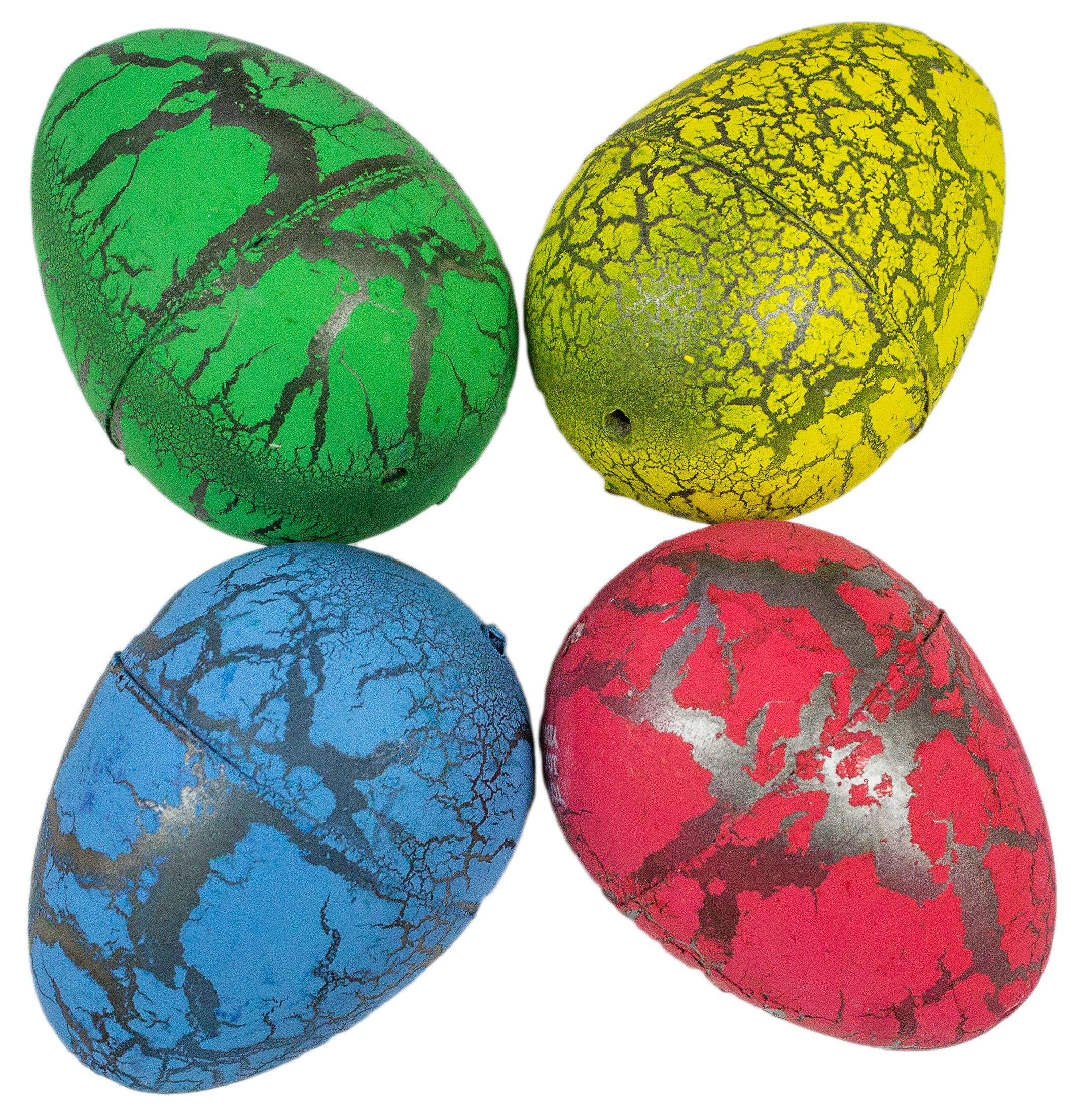 Set of Four Colorful Hatching Dinosaur Eggs