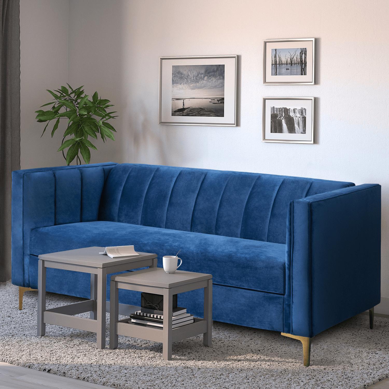 Walnew 71 Velvet Square Upholstered Sofa With Armrest Living Room Couch Navy Blue Walmart Com Walmart Com