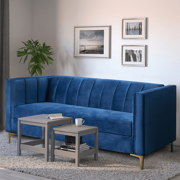 Walnew 71 Velvet Square Upholstered Sofa With Armrest Living Room Couch Navy Blue Walmart Com Walmart Com