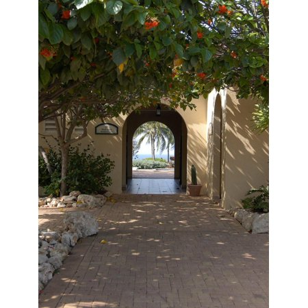 Archway to Pool at Tierra del Sol Golf Club and Spa, Aruba, Caribbean Print Wall Art By Lisa S. Engelbrecht