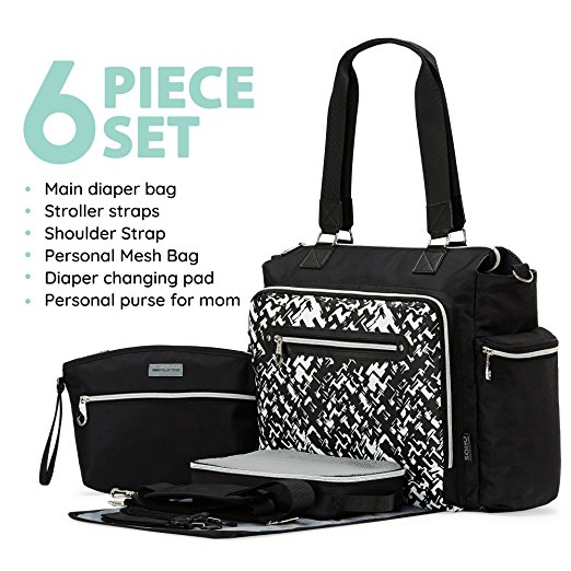 SoHo Collections, Large Trendy Unisex Nappy Diaper Tote Bag with Stroller Straps, 6 Piece Set, Times Square (Granite Black)