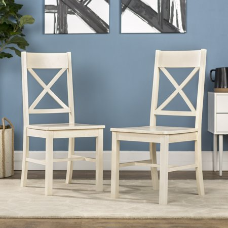 - Walker Edison Traditional Wood Dining Chair, Set of 2 - Antique White