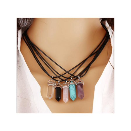 Natural Crystal Gemstone Hexagonal Point Bead Pendant Chakra Necklace + Chain