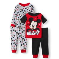 Mickey Mouse Baby Toddler Boy Short & Long Sleeve Top With Pants, 4-Piece Pajama Set