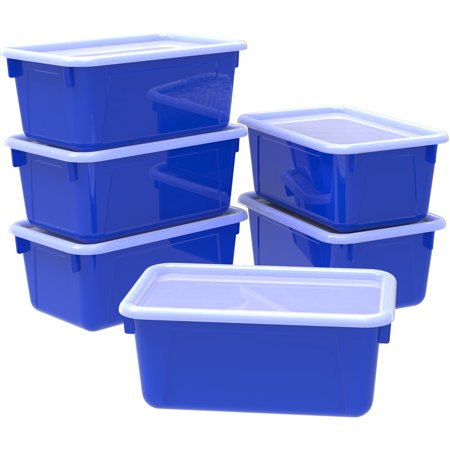 Storex Small Cubby locker Bin, with Cover, Classroom Colors Blue(6 units/pack) - Art Boxes