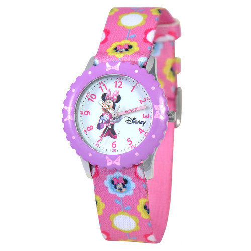 Disney Watches Kid's Minnie Mouse Time Teacher Printed Watch in Pink with Purple Bezel