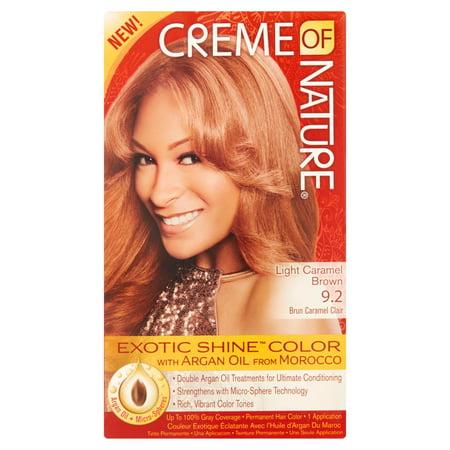Creme of Nature Exotique Shine-couleur avec l'huile d'Argan 9,2 Lumière Caramel Brown, 1.0 KIT