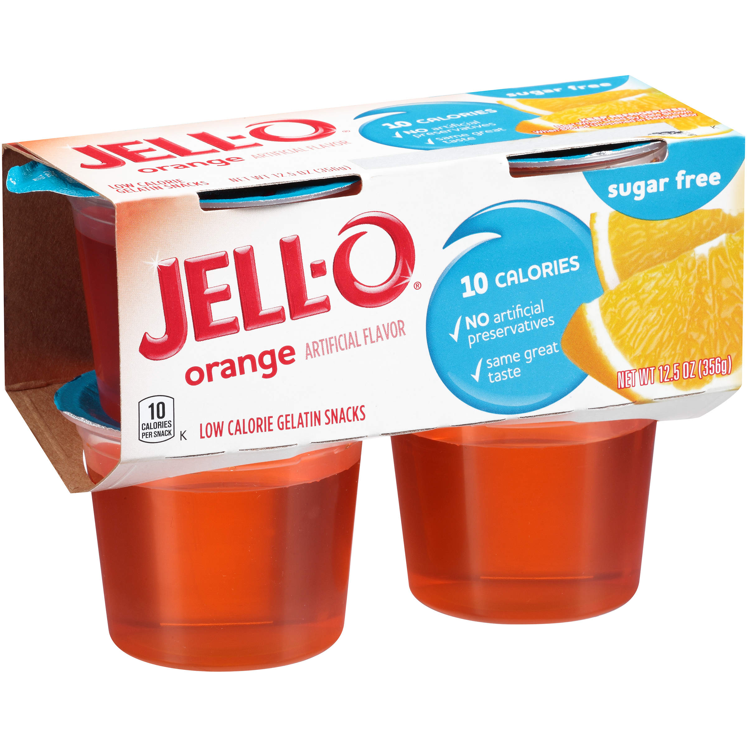 Jell-O Sugar-Free Orange Gelatin Snack, 3.125 Oz., 4 Count