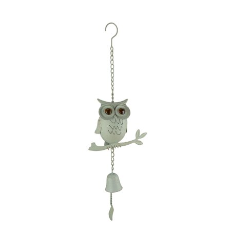 Tin Owl On Branch Wind Chime With Cast Iron Bell (Wind Tin)