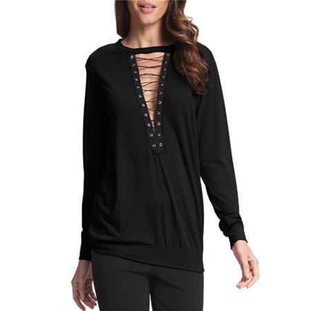 Womens Long Sleeve Deep V Neck Lace-up Halter Collar Choker Blouses