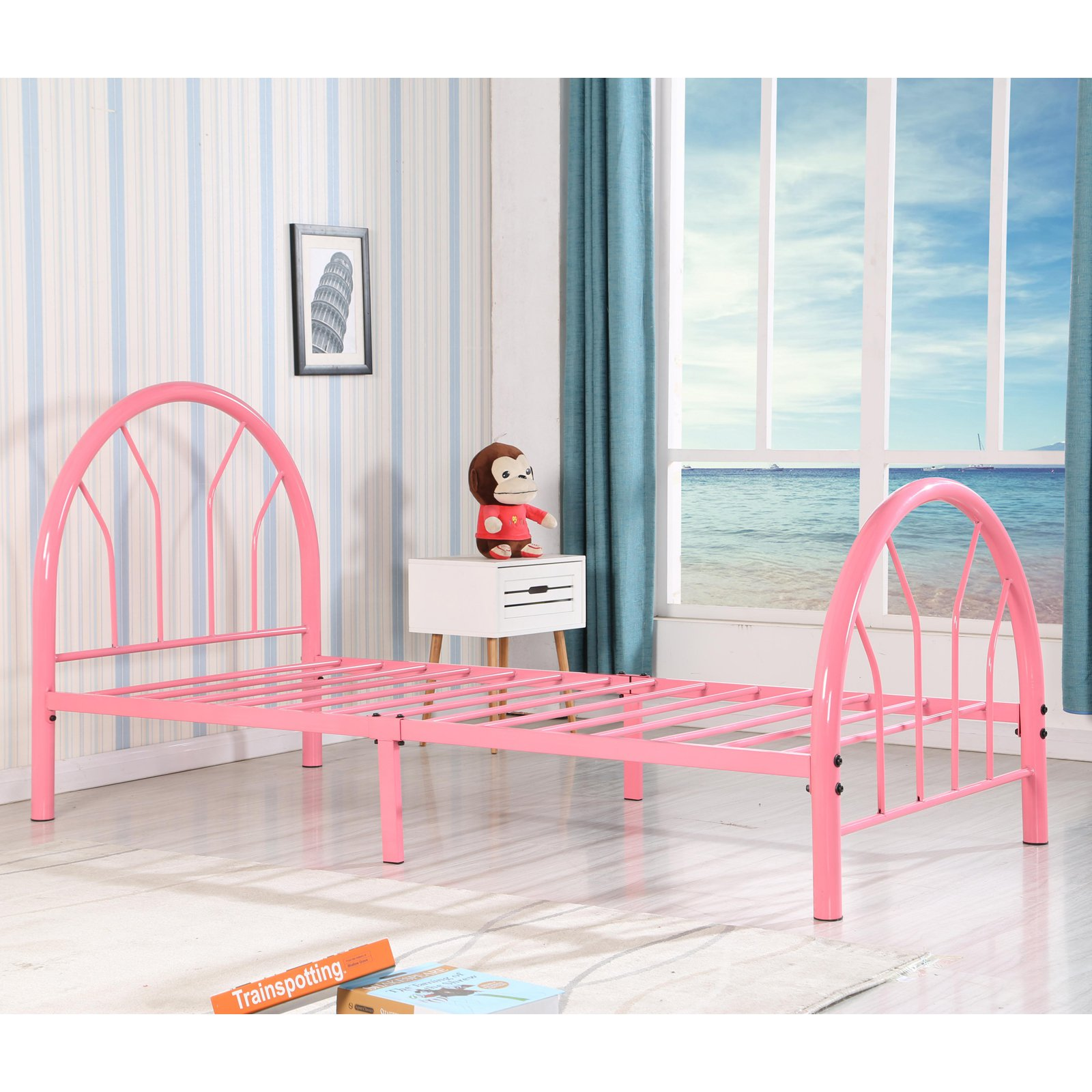 Roundhill Belledica Twin Size Metal Bed Frame, Multiple Colors Available