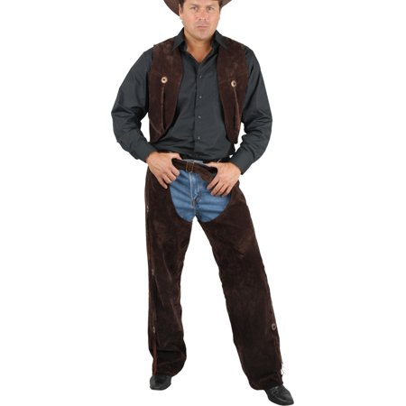 Men's Range Rider Cowboy Costume Brown Faux Suede Chaps and - Motorcycle Rider Costume