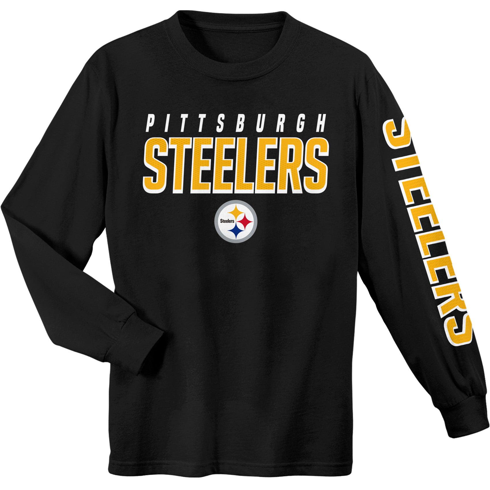 Youth Black Pittsburgh Steelers Sleeve Hit Long Sleeve T-Shirt