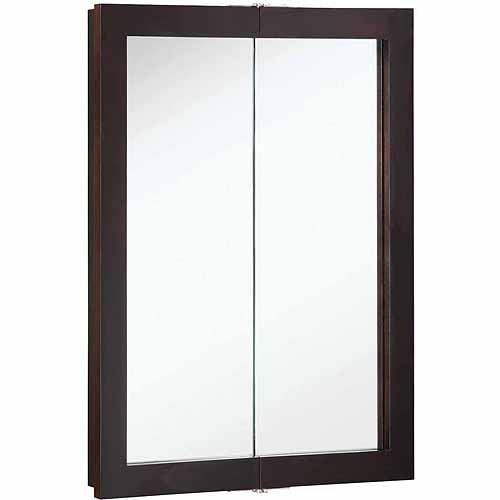Design House 541334 Ventura Espresso Bi-View Medicine Cabinet Mirror with 2 Doors and 2-Shelves