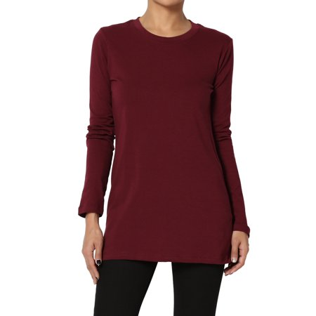 TheMogan Women's PLUS Crew Neck Long Sleeve T-Shirt Stretch Cotton Slim Fit
