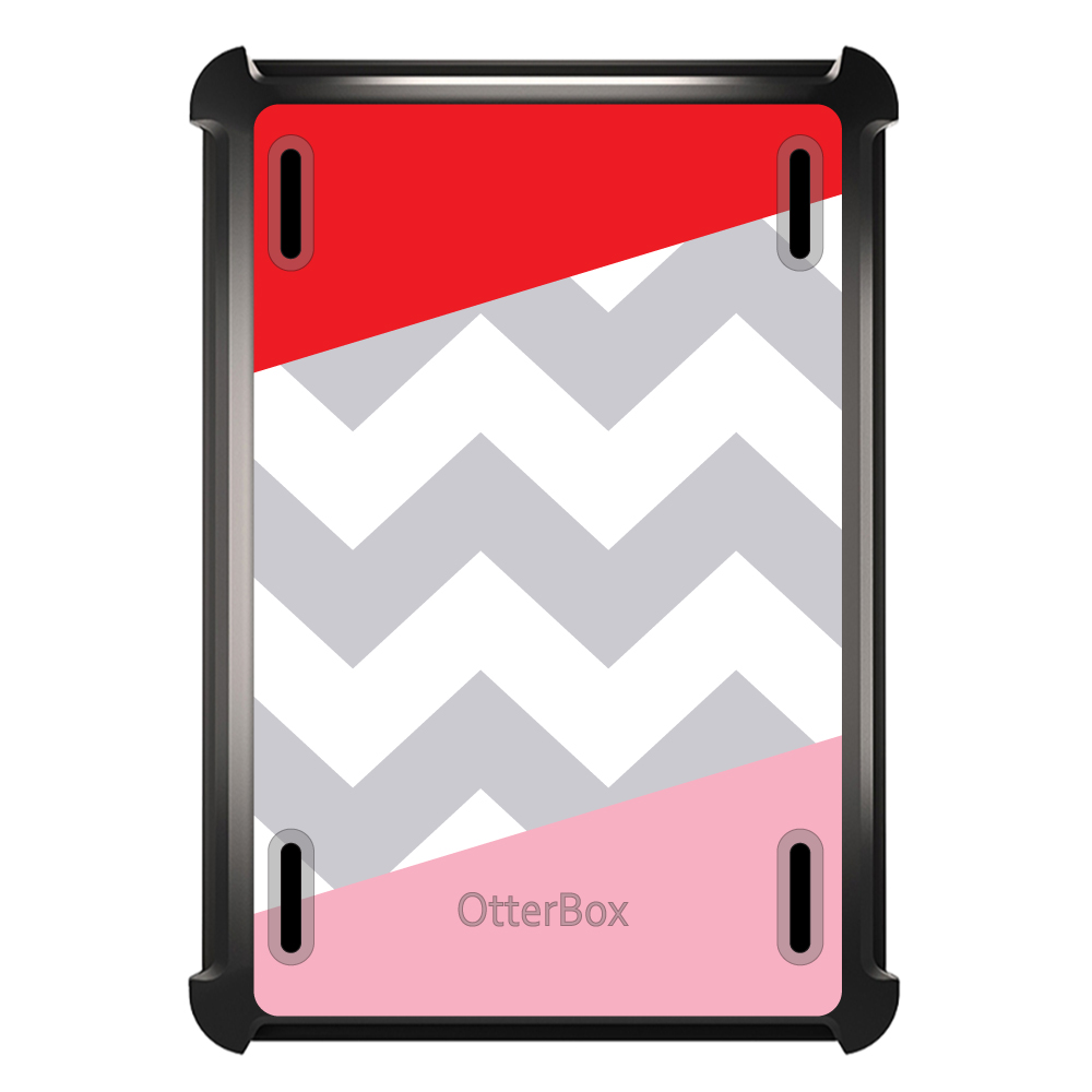 CUSTOM Black OtterBox Defender Series Case for Apple iPad Mini 1 / 2 / 3 - Red Pink Block Grey Chevron