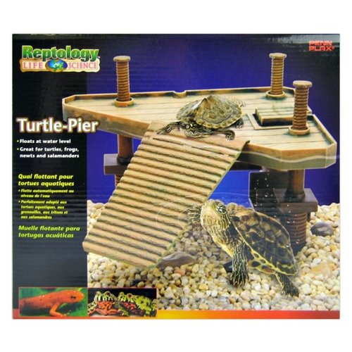 Reptology Floating Turtle Pier Turtle-Pier - Tanks up to 15 Gallons - (14-in L x 9.5-in W x 12-in H)