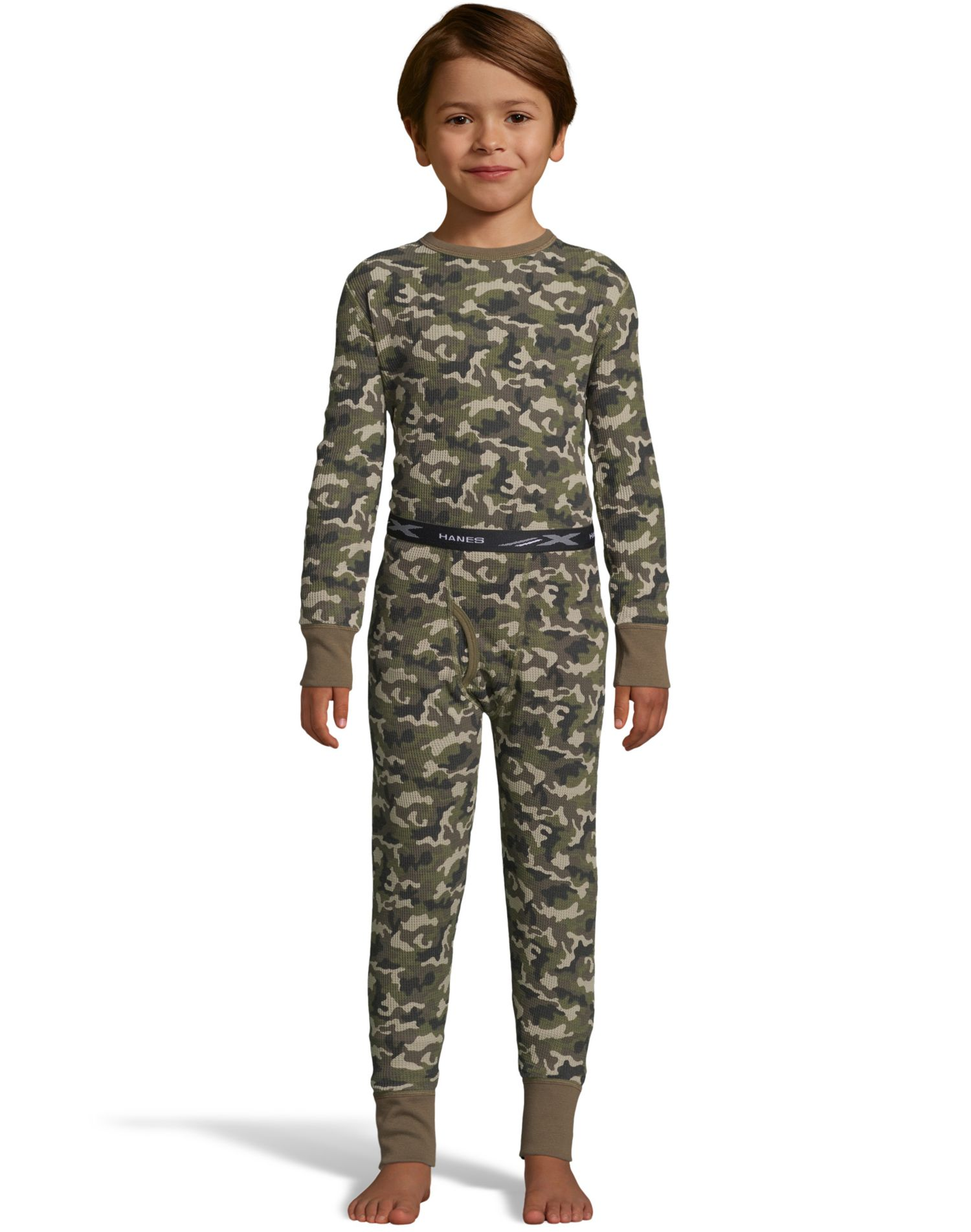 Hanes Boys Waffle Knit Thermal Camo Set, M, Camo Green Print