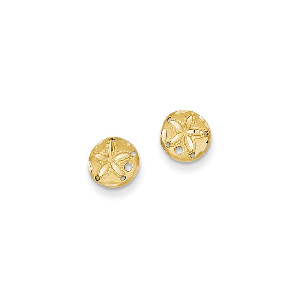 14k Yellow Gold D/C Sand Dollar Post Earrings (8MM)