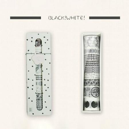 10pcs/Set Washi Tape DIY Decorative Scrapbooking Masking Tape Adhesive Tape Set Label Sticker Black!