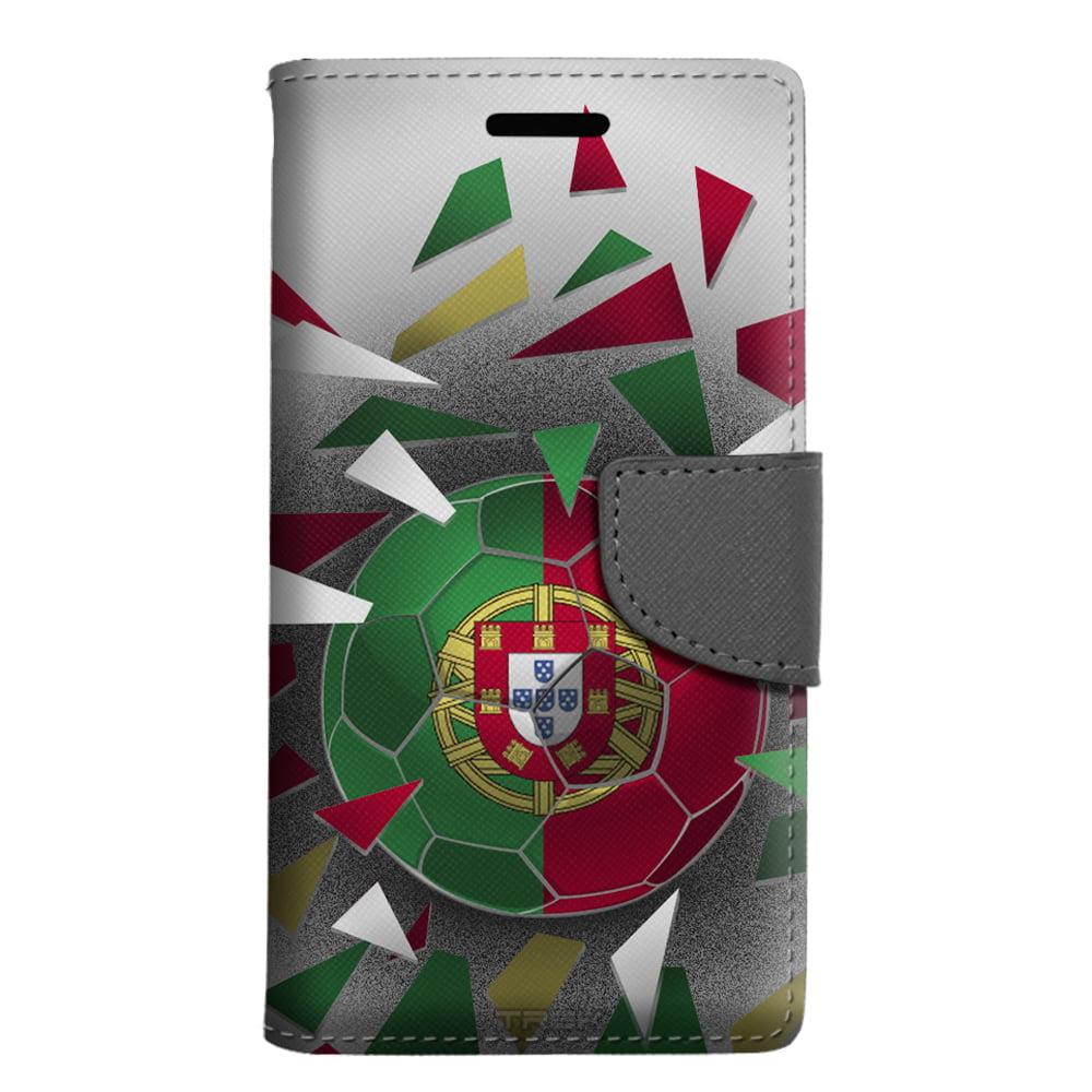 LG Phoenix 3 Wallet Case Soccer Ball Portugal Flag Case by Trek Media Group