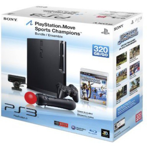 Sony PlayStation 3 - Move Bundle - game console - Full HD, 1080i, HD, 480p, 480i - 320 GB HDD - charcoal black - Sports Champions