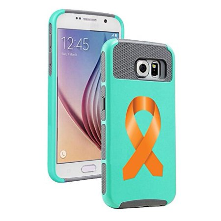 For Samsung Galaxy (S6 Edge) Shockproof Impact Hard Soft Case Cover Leukemia Cancer Multiple Sclerosis Kidney Cancer Color Awareness Ribbon (Teal Gray)