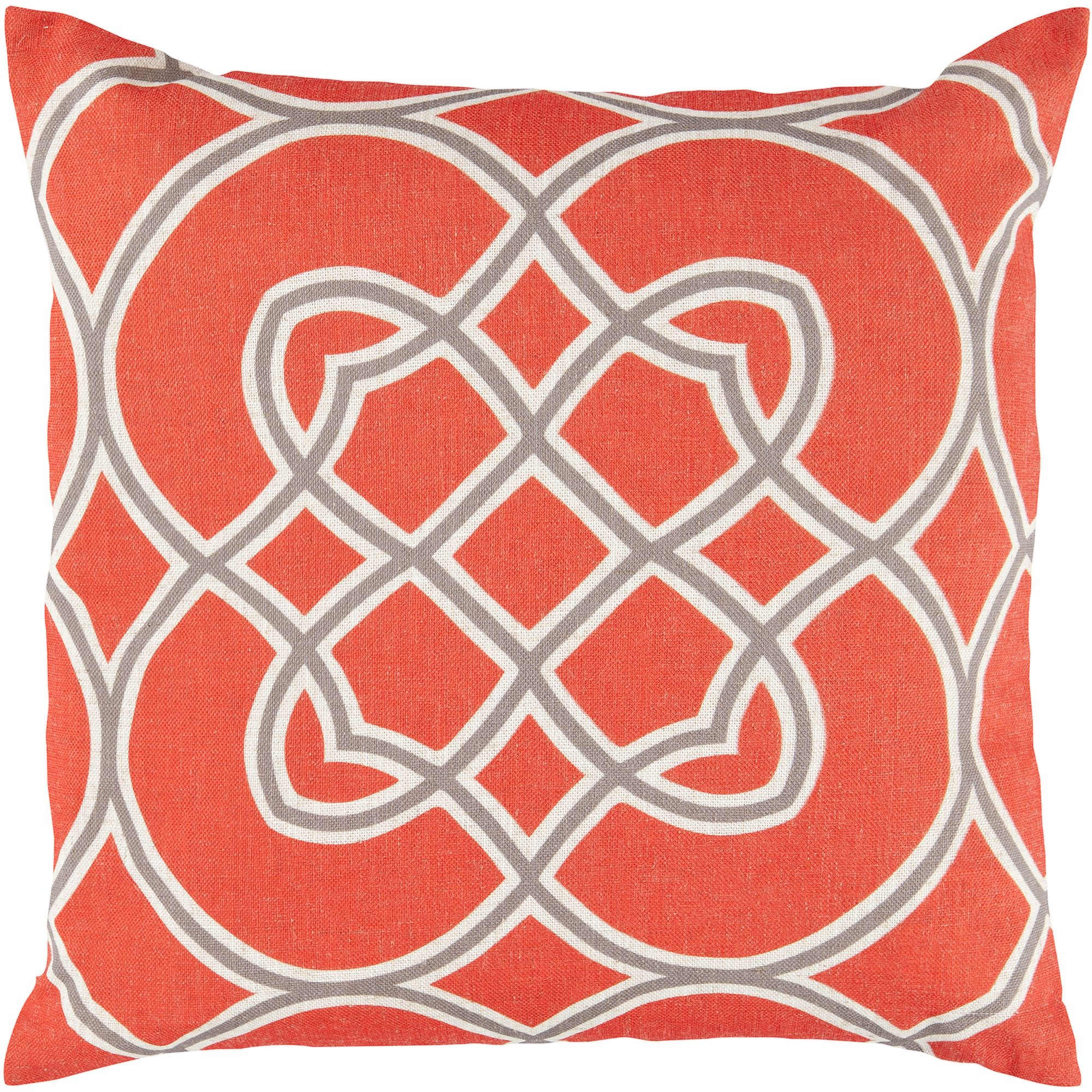 Art of Knot Brayton Hand Crafted Super Scroll Decorative Pillow with Poly Filler, Poppy