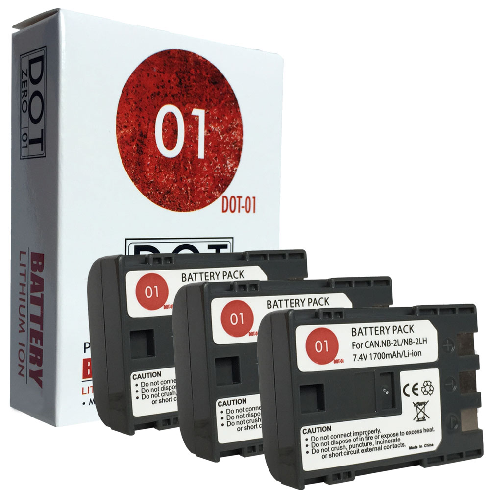 3x DOT-01 Brand 1700 mAh Replacement Canon NB-2L Batteries for Canon Optura 40 Camcorder and Canon NB2L