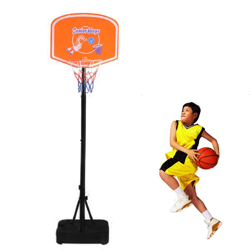 Zimtown 4.1-5ft Height Range Portable Kids Basketball Hoops, Mobile Adjustable Free Standing Mini Basketball Goals System with Net, Rim, Backboard, for Kids Toddler Outdoor Playing