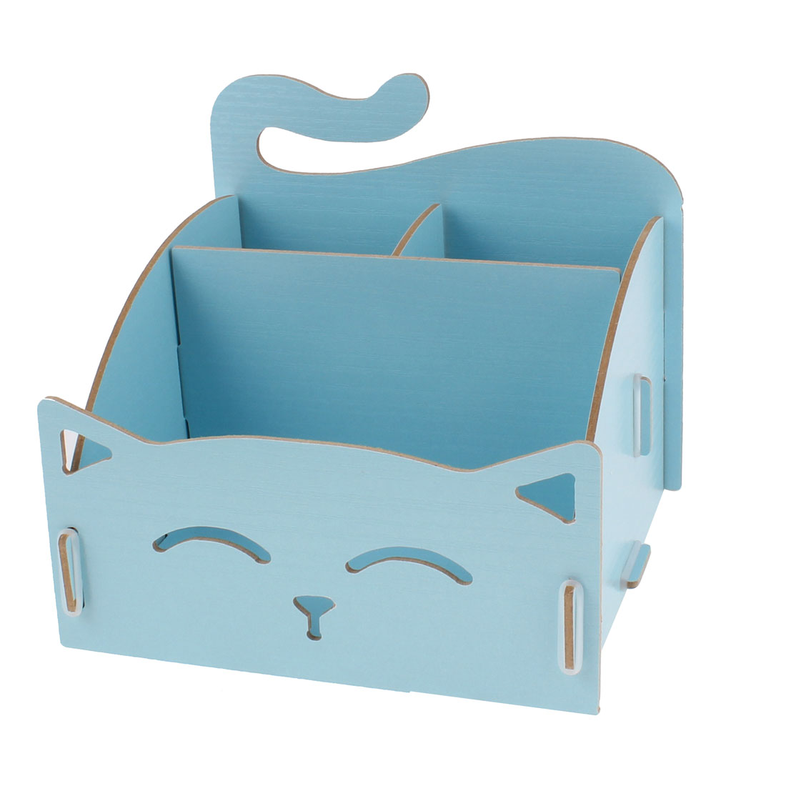 Cosmetic DIY Makeup Stationery Wooden Box Holder Storage Organizer Light Blue