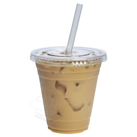 COMFY PACKAGE 100 Sets 12 oz. Plastic CRYSTAL CLEAR Cups with Flat Lids for Cold Drinks, Iced Coffee, Bubble Boba, Tea, Smoothie etc. 12 Oz Waxed Cold Cup