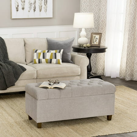 - HomePop Ainsley Button Tufted Storage Bench, Multiple Colors