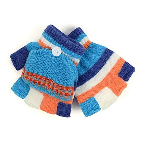 Children's Striped Convertible Mitten Gloves for Winter (250KMG)