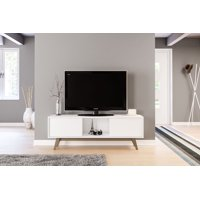 Polifurniture Porto Rico 59 inch TV Stand, White and Light Brown