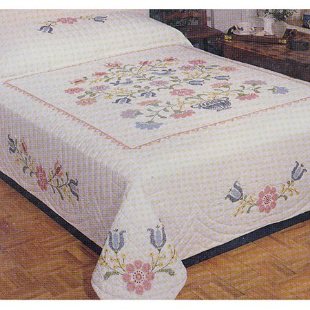 Colonial Stencil Stamped Cross Stitch Quilt , 90