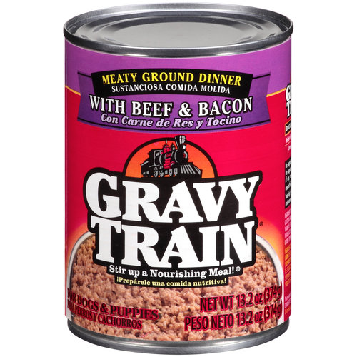 Gravy Train Meaty Ground Dinner With Beef & Bacon Wet Dog Food, 13.2-Ounce Can