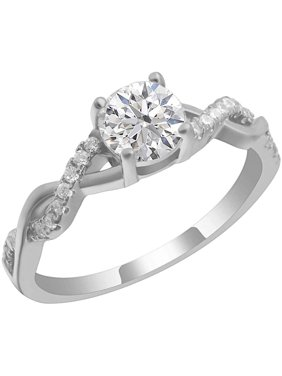 Queena Twisted Engagement Ring Sterling Silver 1CT CZ  Bridal Wedding