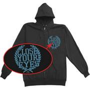 Close Your Eyes Men's  Texas Skull Zippered Hooded Sweatshirt Black