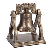 5.25 Inch Bronze Colored Liberty Bell on Stand Figurine Statue