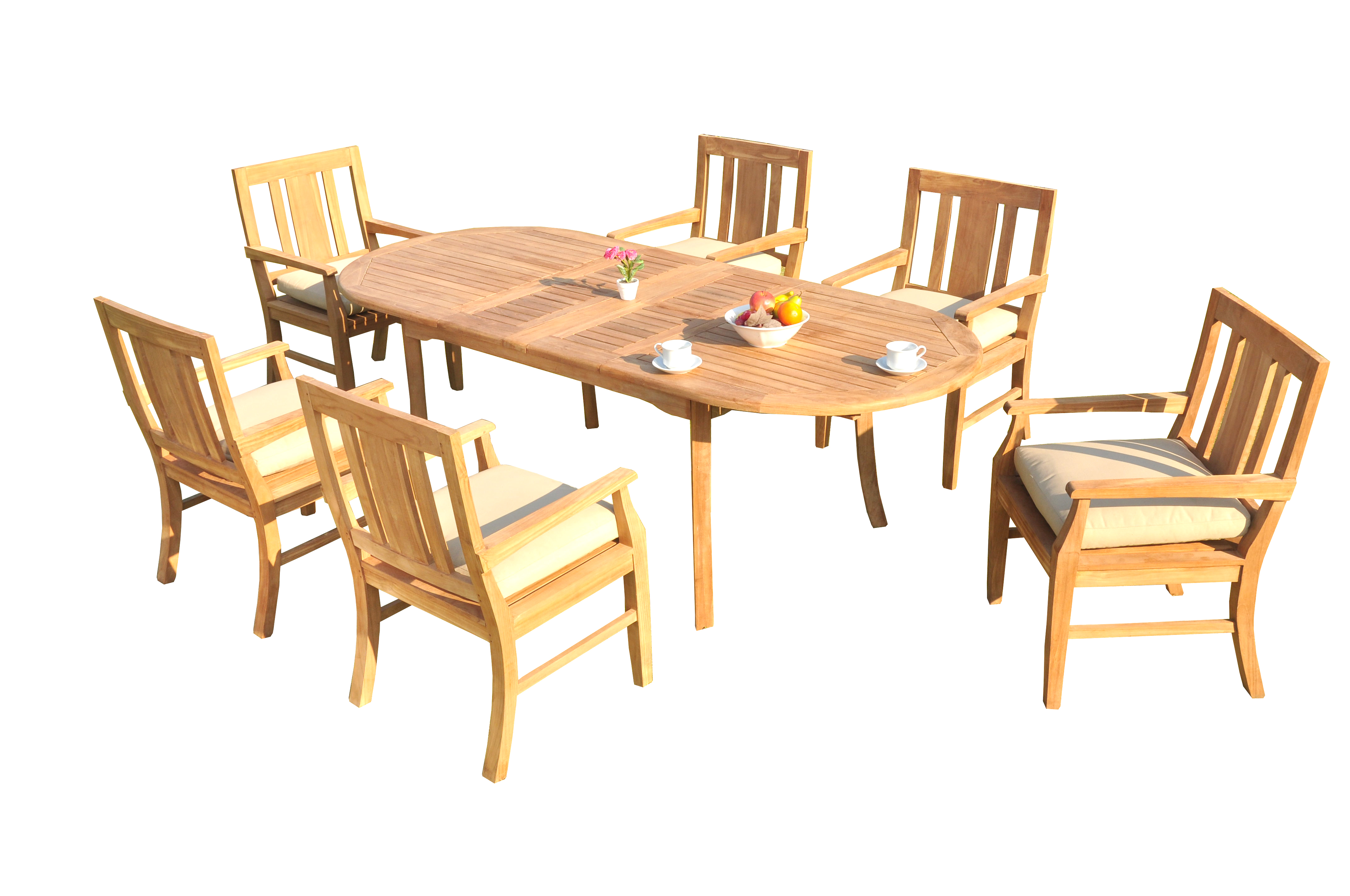 "7 PC A Grade Outdoor Patio Teak Dining Room Set 94"" Double Extension Oval Table & 6 Osawa Armchairs by"