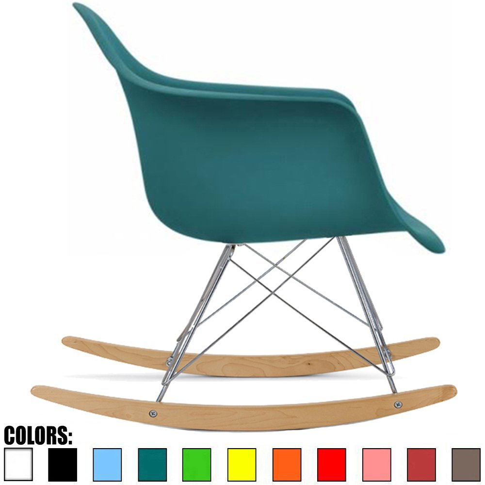 2xhome Teal Eames Style Molded Modern Plastic Armchair � Contemporary Accent Retro Rocker Chrome Steel Eiffel Base Ash... by 2xhome