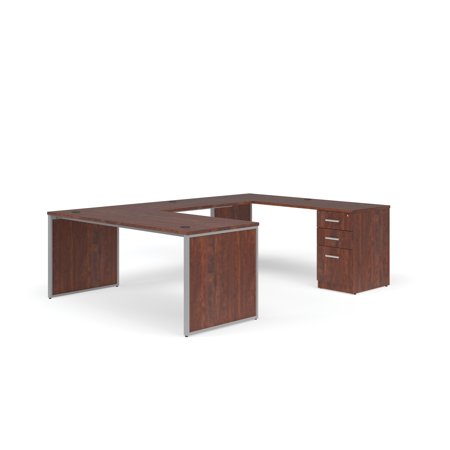"OFM Fulcrum Series Office Furniture Set, 72"" U-Shaped Desk with Bridge, Credenza, 3-drawer Filing Cabinet, Leg Panels, in Cherry"